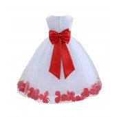 White/Red Tulle Rose Petals Flower Girl Dress Ceremonial 302a