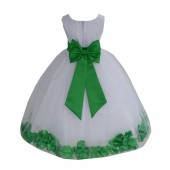 White/Lime Tulle Rose Petals Flower Girl Dress Ceremonial 302a