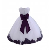 White/Plum Tulle Rose Petals Flower Girl Dress Ceremonial 302a
