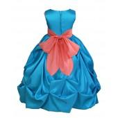 Turquoise/Coral Satin Taffeta Pick-Up Bubble Flower Girl Dress 301S