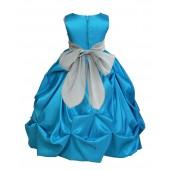 Turquoise/Silver Satin Taffeta Pick-Up Bubble Flower Girl Dress 301S