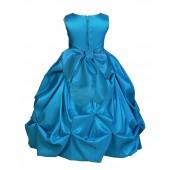 Matching Turquoise Satin Taffeta Pick-Up Bubble Flower Girl Dress 301S
