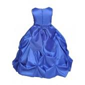Matching Royal Blue Satin Taffeta Pick-Up Bubble Flower Girl Dress 301S