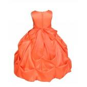 Matching Orange Satin Taffeta Pick-Up Bubble Flower Girl Dress 301S