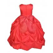 Matching Red Satin Taffeta Pick-Up Bubble Flower Girl Dress 301S