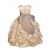Matching Champagne Satin Taffeta Pick-Up Bubble Flower Girl Dress 301S