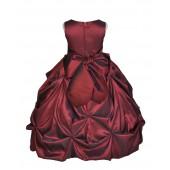 Matching Burgundy Satin Taffeta Pick-Up Bubble Flower Girl Dress 301S