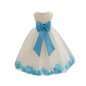 Ivory/Turquoise Tulle Rose Petals Flower Girl Dress Recital 302a