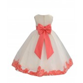 Ivory/Coral Tulle Rose Petals Flower Girl Dress Recital 302a
