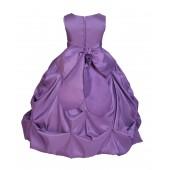 Matching Purple Satin Taffeta Pick-Up Bubble Flower Girl Dress 301S