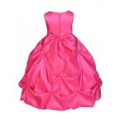 Matching Fuchsia Satin Taffeta Pick-Up Bubble Flower Girl Dress 301S