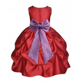Apple Red/Wisteria Satin Pick-Up Flower Girl Dress Holiday 208T
