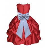 Apple Red/Silver Satin Pick-Up Flower Girl Dress Holiday 208T