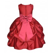 Apple Red/Watermelon Satin Pick-Up Flower Girl Dress Holiday 208T