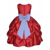 Apple Red/Bluebird Satin Pick-Up Flower Girl Dress Holiday 208T