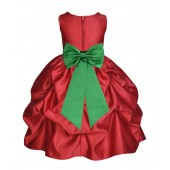 Apple Red/Lime Satin Pick-Up Flower Girl Dress Holiday 208T