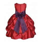Apple Red/Plum Satin Pick-Up Flower Girl Dress Holiday 208T