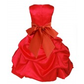 Red/Persimmon Satin Pick-Up Bubble Flower Girl Dress Christmas 806S