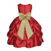 Apple Red/Canary Satin Pick-Up Flower Girl Dress Holiday 208T