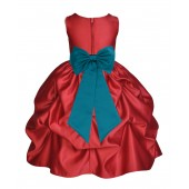 Apple Red/Oasis Satin Pick-Up Flower Girl Dress Holiday 208T
