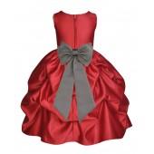 Apple Red/Mercury Satin Pick-Up Flower Girl Dress Holiday 208T