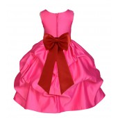 Fuchsia/Persimmon Satin Pick-Up Flower Girl Dress Recital 208T