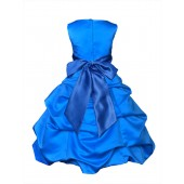 Matching Royal Blue Satin Pick-Up Bubble Flower Girl Dress 806S