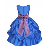 Royal Blue/Wisteria Satin Pick-Up Flower Girl Dress Dance 208T