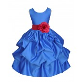 Royal Blue/Watermelon Satin Pick-Up Flower Girl Dress Dance 208T