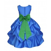 Royal Blue/Lime Satin Pick-Up Flower Girl Dress Dance 208T