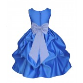 Royal Blue/Bluebird Satin Pick-Up Flower Girl Dress Dance 208T