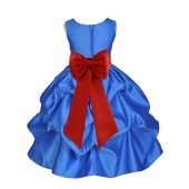 Royal Blue/Persimmon Satin Pick-Up Flower Girl Dress Dance 208T
