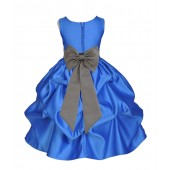 Royal Blue/Mercury Satin Pick-Up Flower Girl Dress Dance 208T
