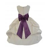 Ivory/Plum Satin Pick-Up Flower Girl Dress Bridesmaid 208T