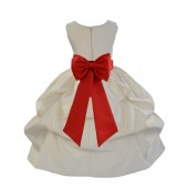 Ivory/Persimmon Satin Pick-Up Flower Girl Dress Bridesmaid 208T