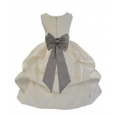Ivory/Mercury Satin Pick-Up Flower Girl Dress Bridesmaid 208T