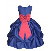 Navy Blue/Watermelon Satin Pick-Up Flower Girl Dress Pageant 208T