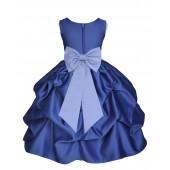 Navy Blue/Bluebird Satin Pick-Up Flower Girl Dress Pageant 208T