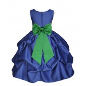Navy Blue/Lime Satin Pick-Up Flower Girl Dress Pageant 208T