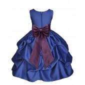 Navy Blue/Plum Satin Pick-Up Flower Girl Dress Pageant 208T