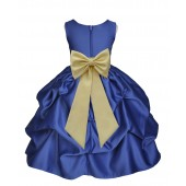 Navy Blue/Canary Satin Pick-Up Flower Girl Dress Pageant 208T