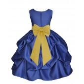 Navy Blue/Sunbeam Satin Pick-Up Flower Girl Dress Pageant 208T