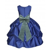 Navy Blue/Sage Satin Pick-Up Flower Girl Dress Pageant 208T