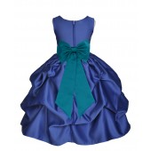 Navy Blue/Oasis Satin Pick-Up Flower Girl Dress Pageant 208T