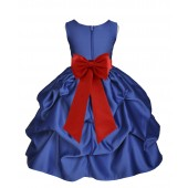 Navy Blue/Persimmon Satin Pick-Up Flower Girl Dress Pageant 208T