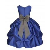 Navy Blue/Mercury Satin Pick-Up Flower Girl Dress Pageant 208T
