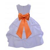 White/Orange Satin Pick-Up Flower Girl Dress Wedding 208T