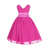 Fuchsia V-Neck Yoryu Chiffon Flower Girl Dress Special Events 503