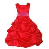 Red/Fuchsia Satin Pick-Up Bubble Flower Girl Dress Christmas 806S