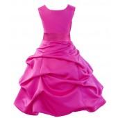 Matching Fuchsia Satin Pick-Up Bubble Flower Girl Dress 806S